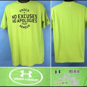 Under Armour No Excuses Tee Shirt Lime Green Tee